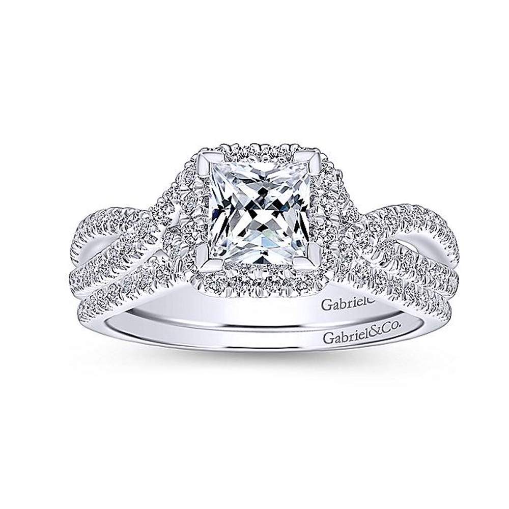 Gabriel 14 Karat Princess Cut Halo Engagement Ring ER12600S3W44JJ Alternative View 3