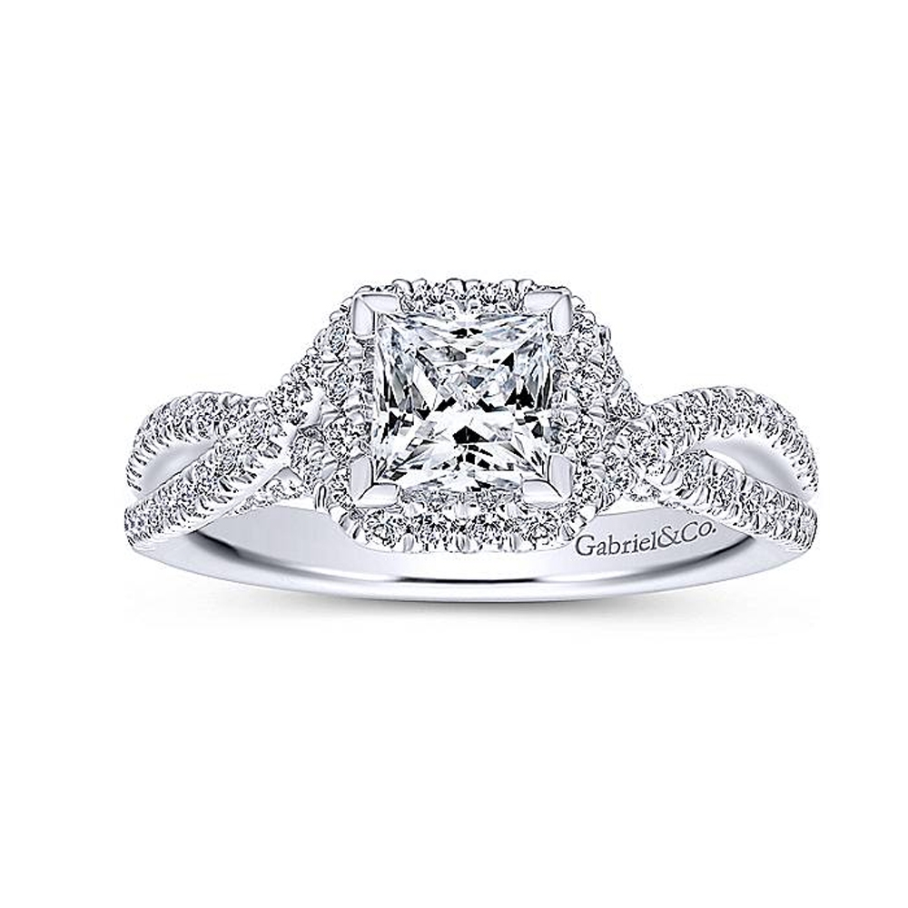 Gabriel 14 Karat Princess Cut Halo Engagement Ring ER12600S3W44JJ Alternative View 4