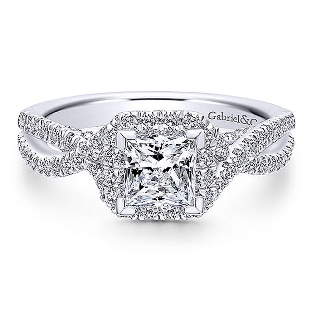 Gabriel 14 Karat Princess Cut Halo Engagement Ring ER12600S3T44JJ