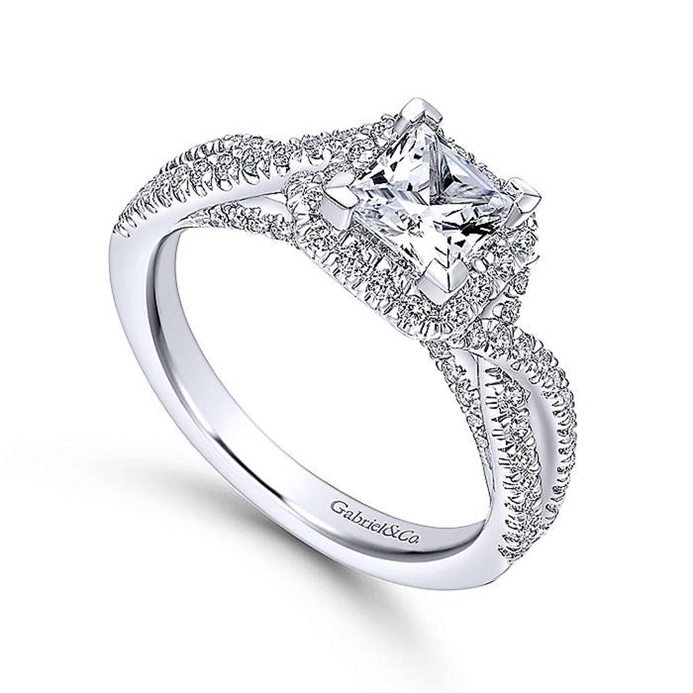 Gabriel 14 Karat Princess Cut Halo Engagement Ring ER12600S3T44JJ Alternative View 2
