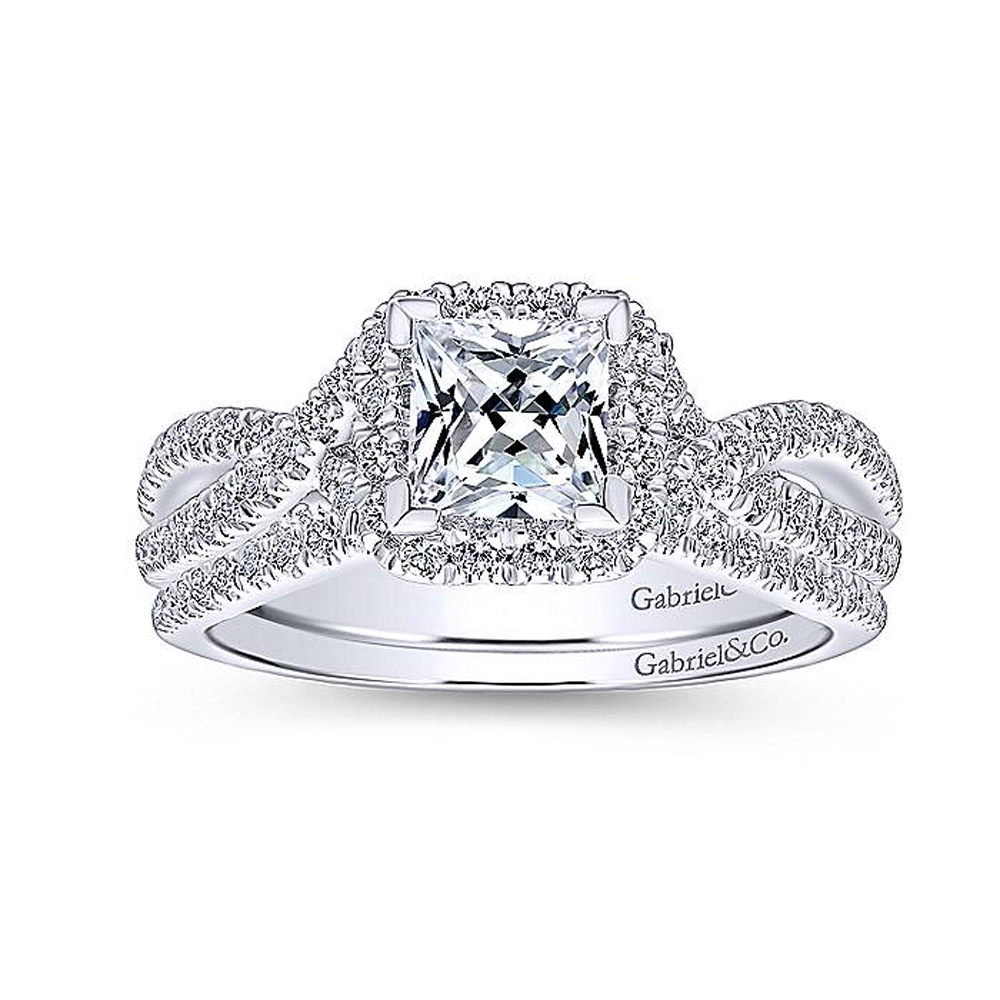 Gabriel 14 Karat Princess Cut Halo Engagement Ring ER12600S3T44JJ Alternative View 3