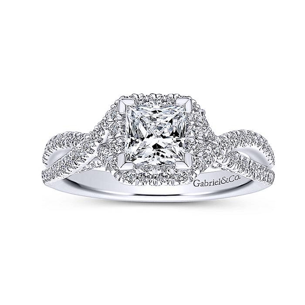 Gabriel 14 Karat Princess Cut Halo Engagement Ring ER12600S3T44JJ Alternative View 4
