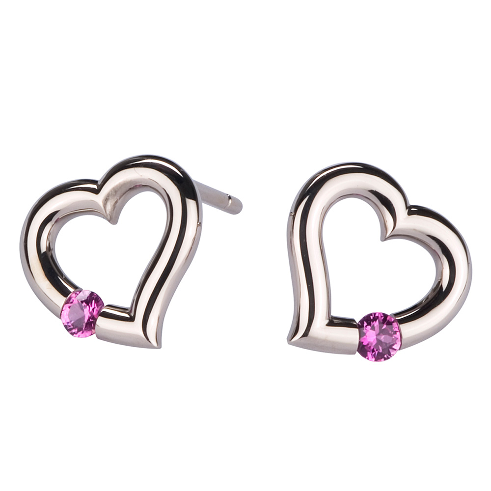 Kretchmer Platinum Heart Shape Tension Set Earrings