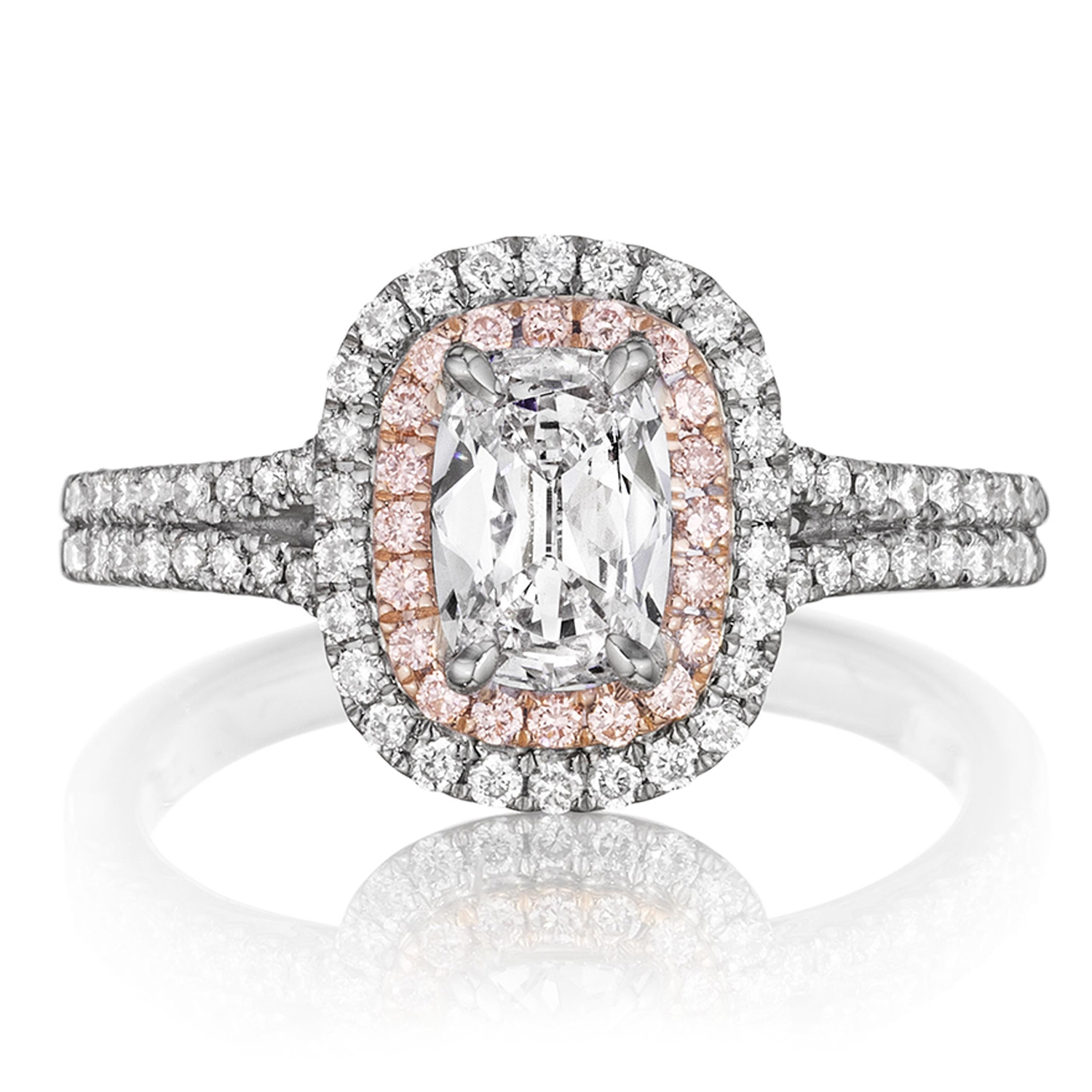 ed1085a5a1171 Henri Daussi ADTP Double Cushion Halo with Pink Diamonds Engagement Ring