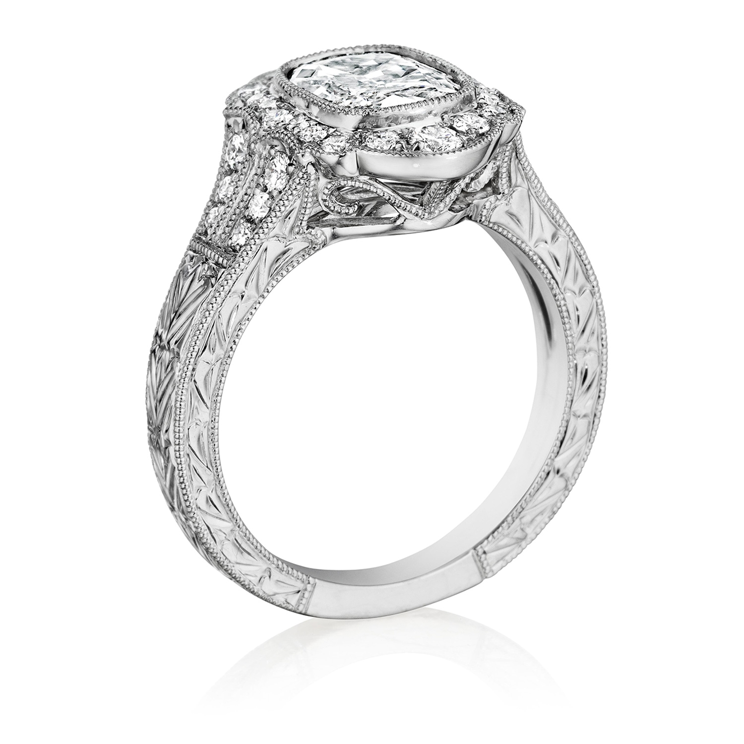 Henri Daussi AFL Cushion Halo Antique Engraved Diamond Engagement Ring Alternative View 1