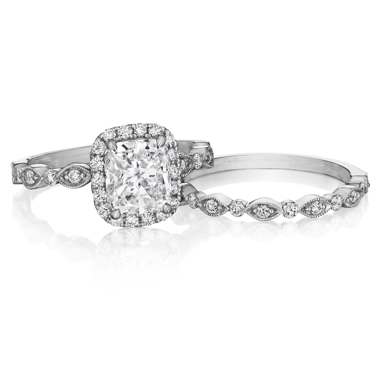 Henri Daussi AGC Cushion Halo Floral Inspired Antique Diamond Engagement Ring Alternative View 2