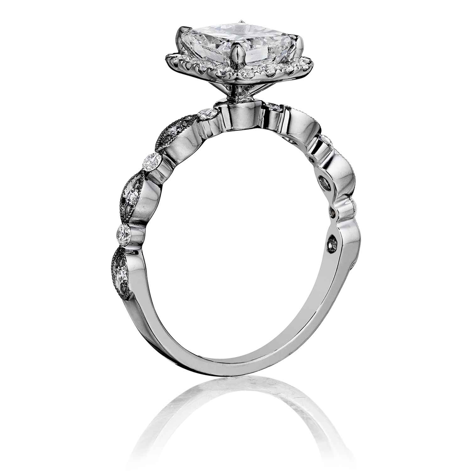 Henri Daussi AGC Cushion Halo Floral Inspired Antique Diamond Engagement Ring Alternative View 1