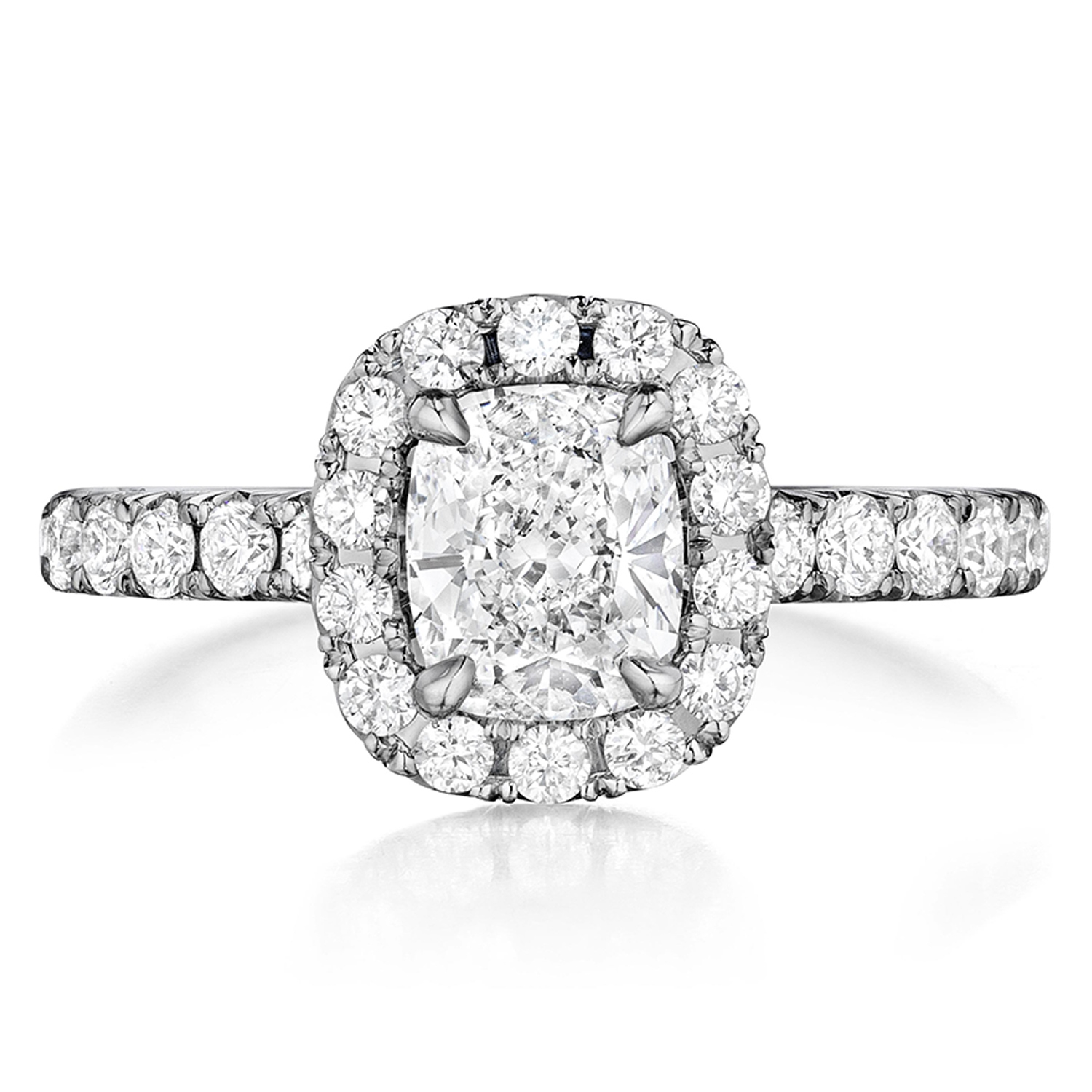 Henri Daussi AHWS Cushion Halo Diamond Engagement Ring