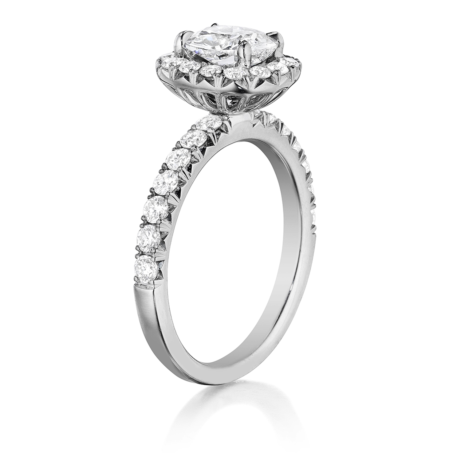 Henri Daussi AHWS Cushion Halo Diamond Engagement Ring Alternative View 1