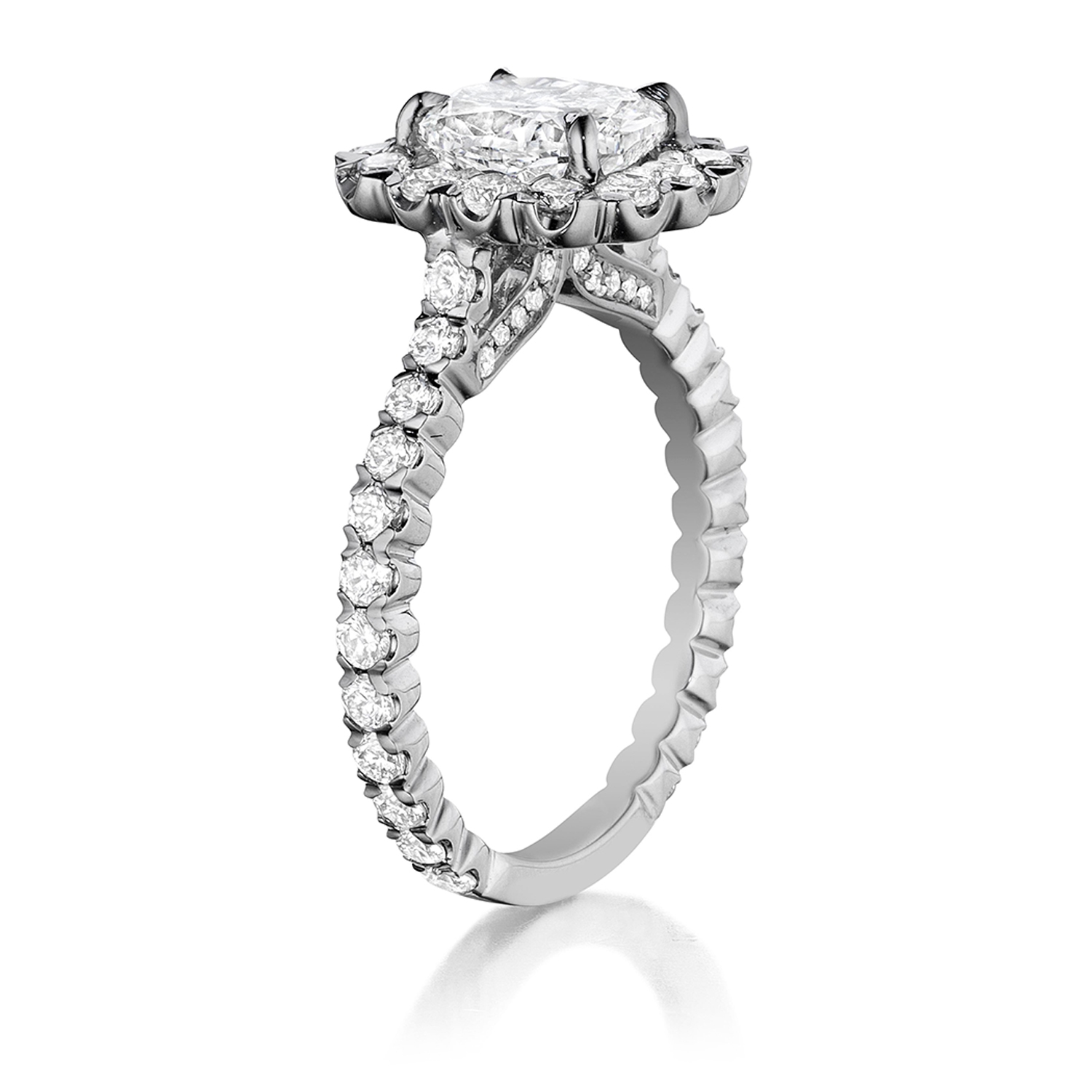 Henri Daussi AJK Unique V-Prong Cushion Halo Diamond Engagement Ring Alternative View 1