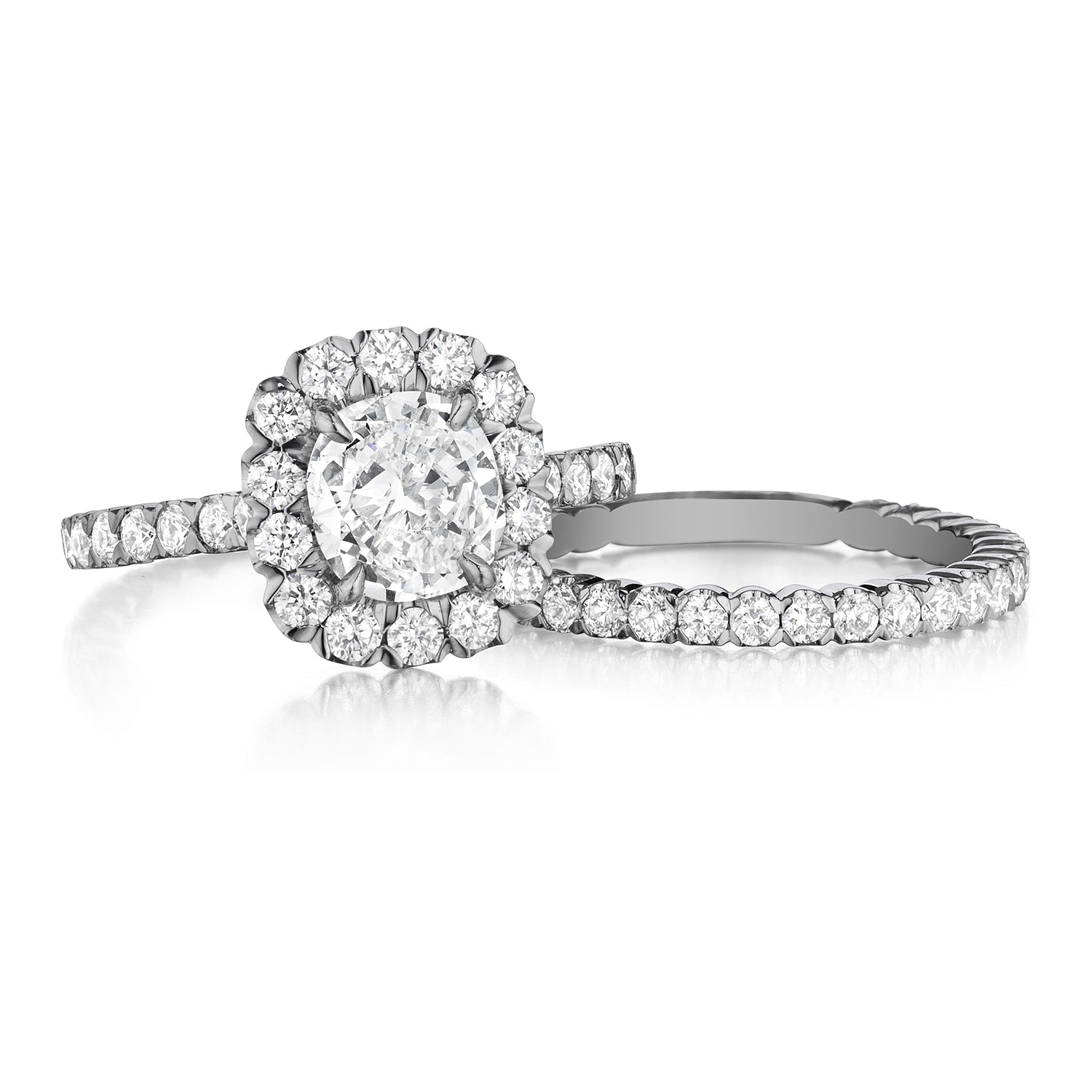 Henri Daussi AJK Unique V-Prong Cushion Halo Diamond Engagement Ring Alternative View 2