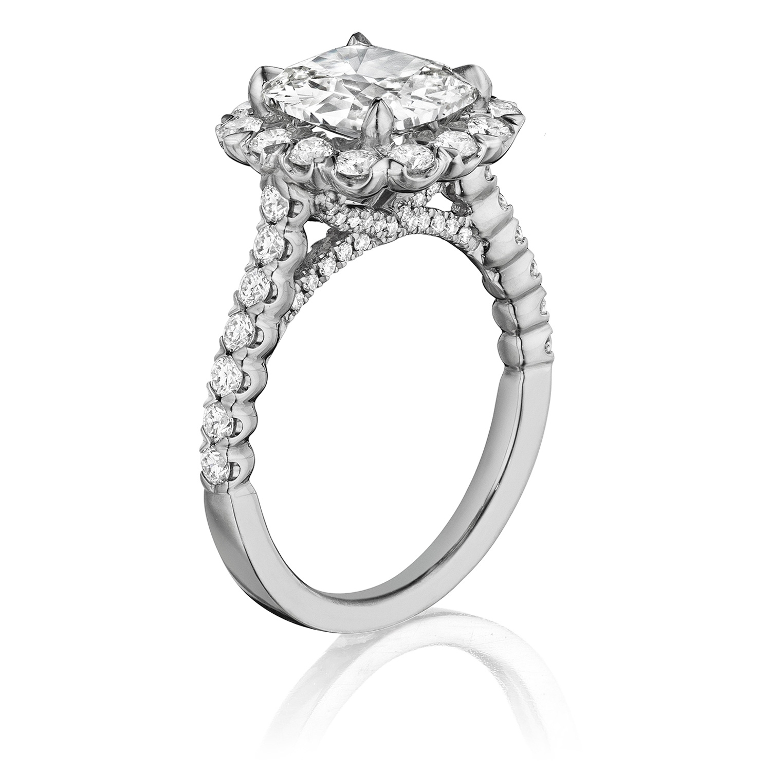 Henri Daussi AJS Unique V-Prong Cushion Halo Diamond Engagement Ring Alternative View 1