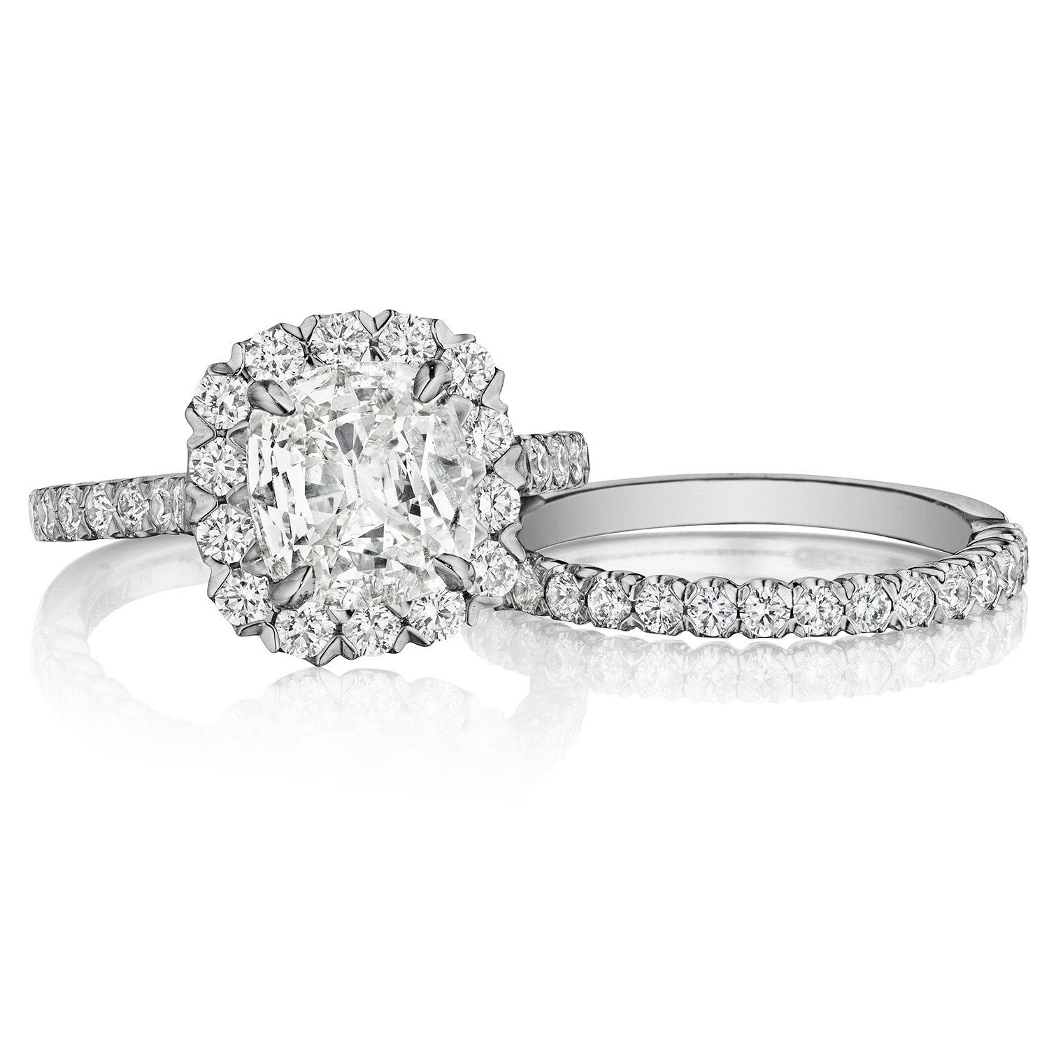 Henri Daussi AJS Unique V-Prong Cushion Halo Diamond Engagement Ring Alternative View 2