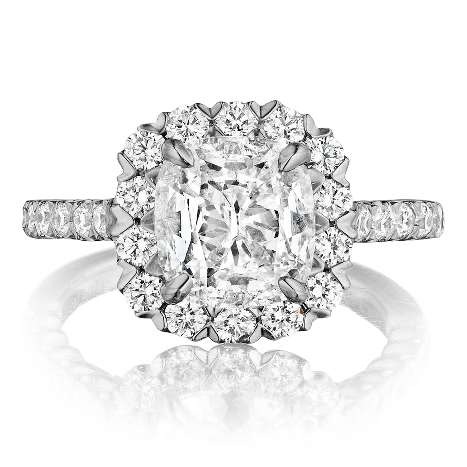 Henri Daussi AJS Unique V-Prong Cushion Halo Diamond Engagement Ring