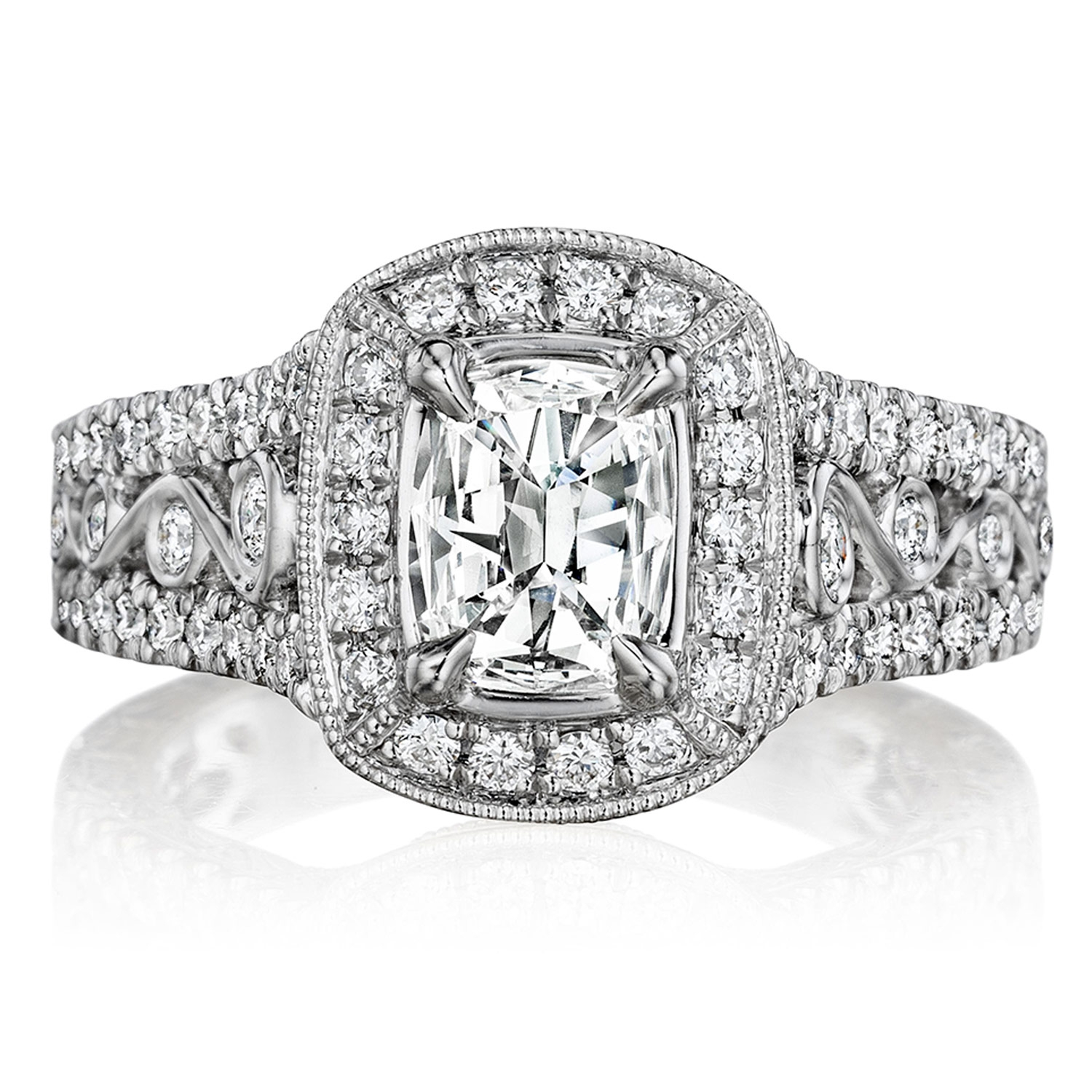 Henri Daussi AKJF Cushion Antique Halo Diamond Engagement Ring