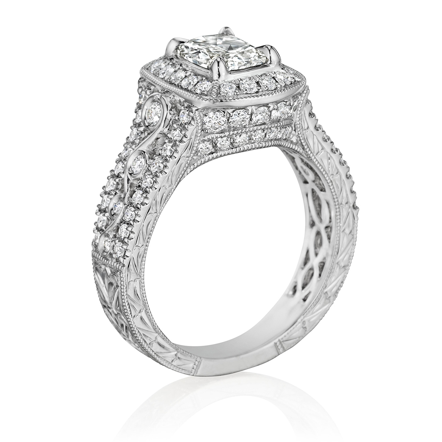 Henri Daussi AKJF Cushion Antique Halo Diamond Engagement Ring Alternative View 1