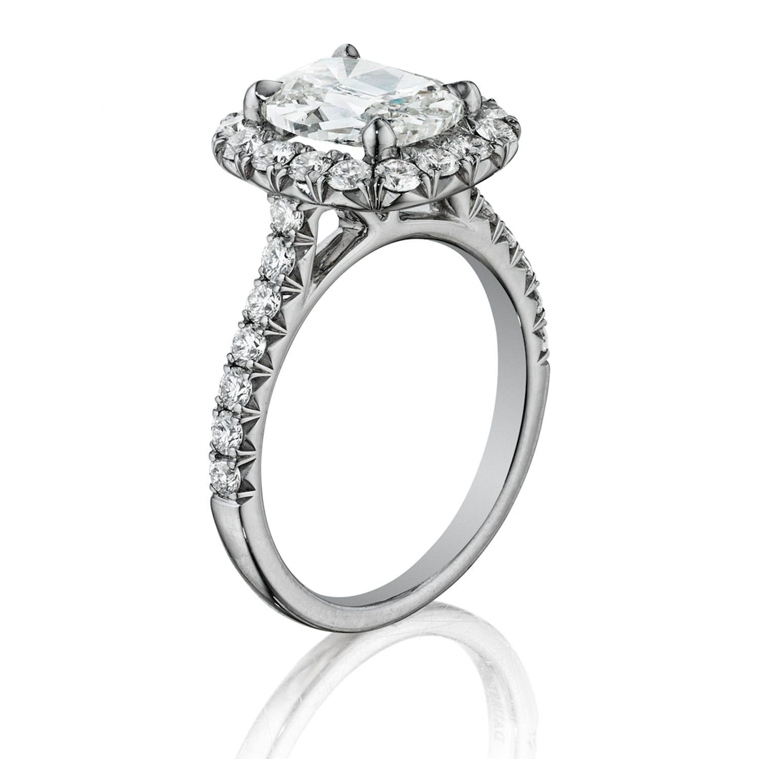 Henri Daussi AMDM Cushion Halo Diamond Engagement Ring Alternative View 1