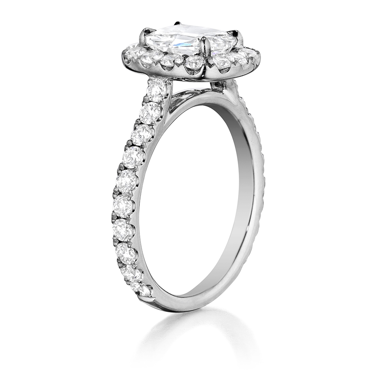 Henri Daussi AMKL Cushion Halo Diamond Engagement Ring Alternative View 1