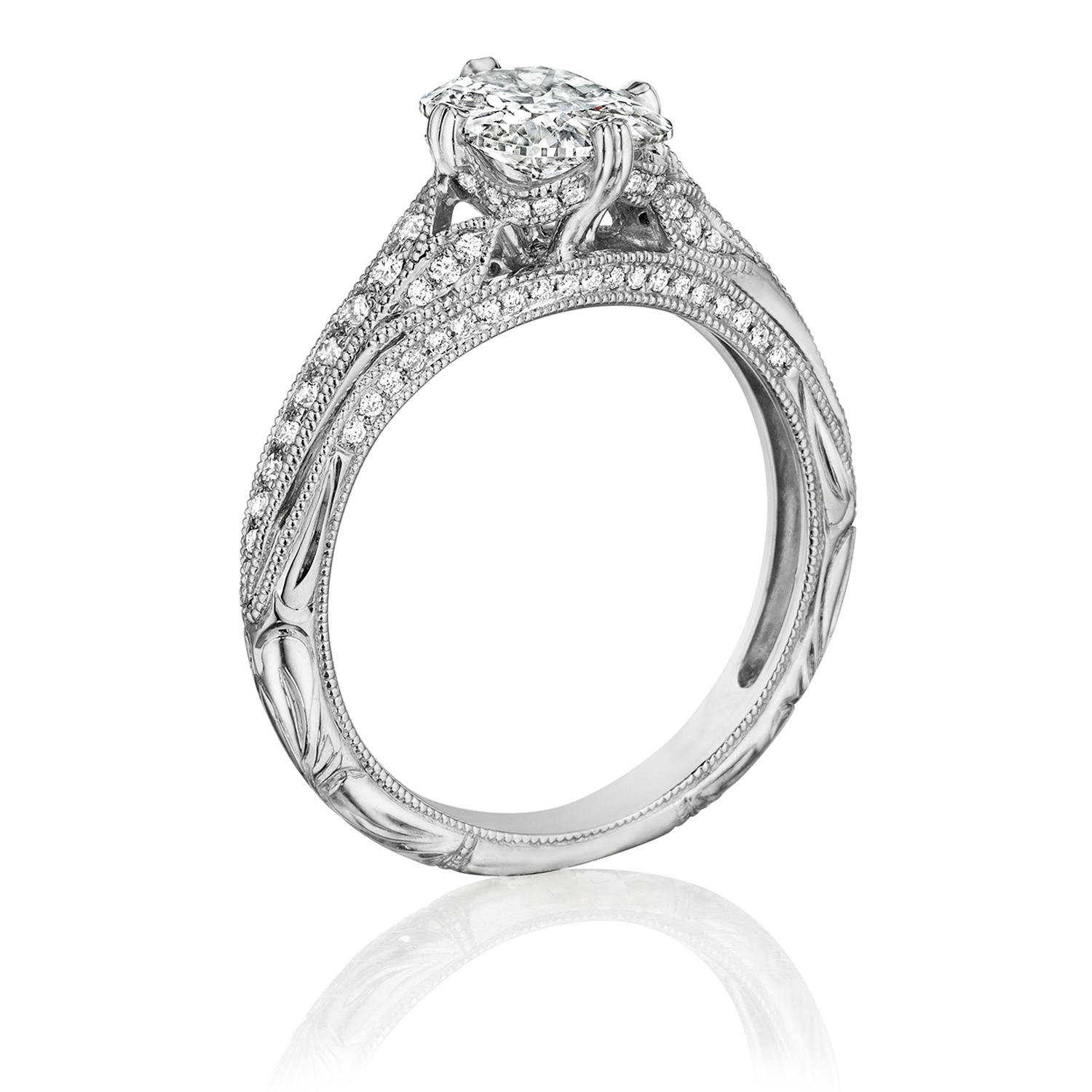 Henri Daussi AN Cushion Antique Solitaire Diamond Engagement Ring Alternative View 1