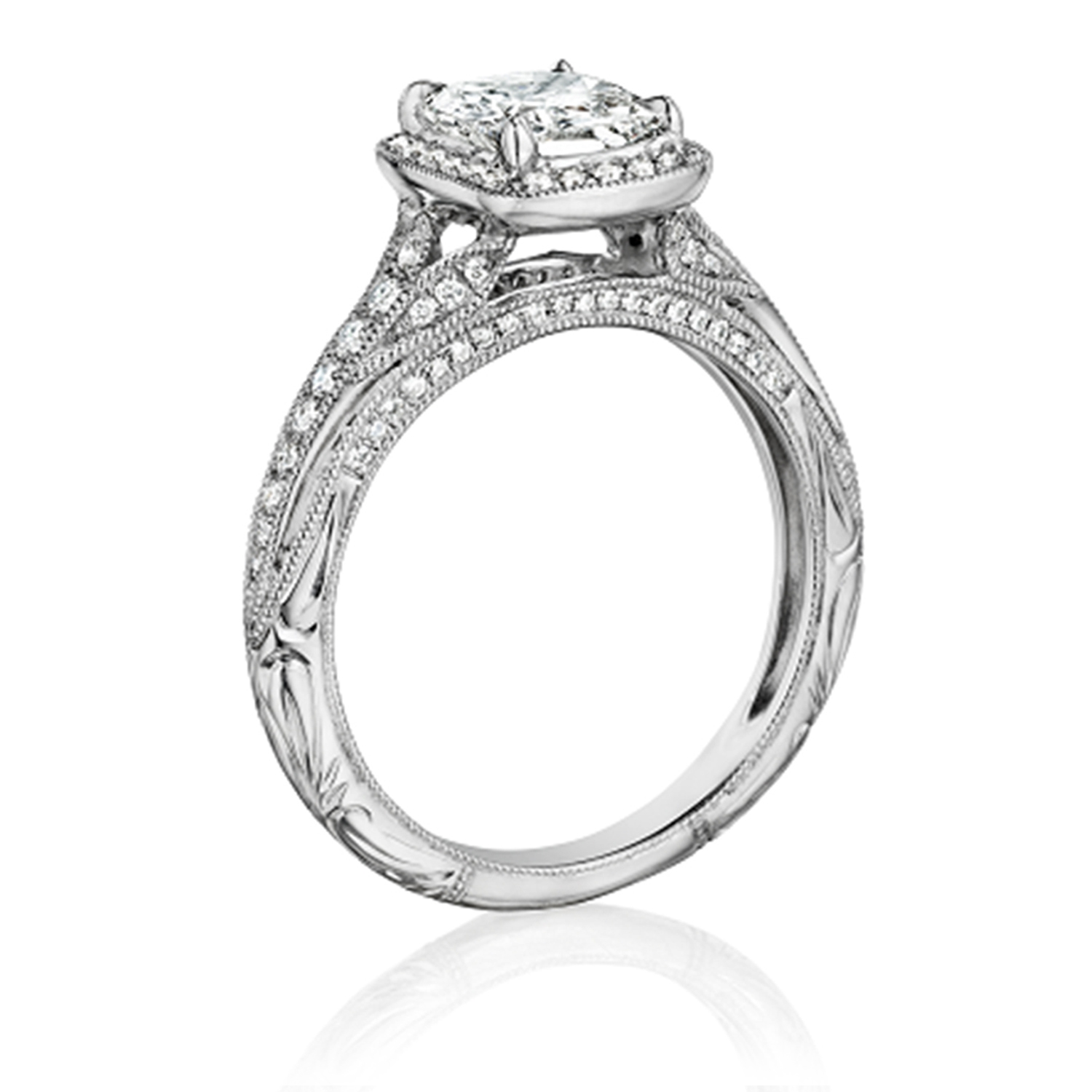 Henri Daussi ANH Cushion Halo Antique Diamond Engagement Ring Alternative View 1