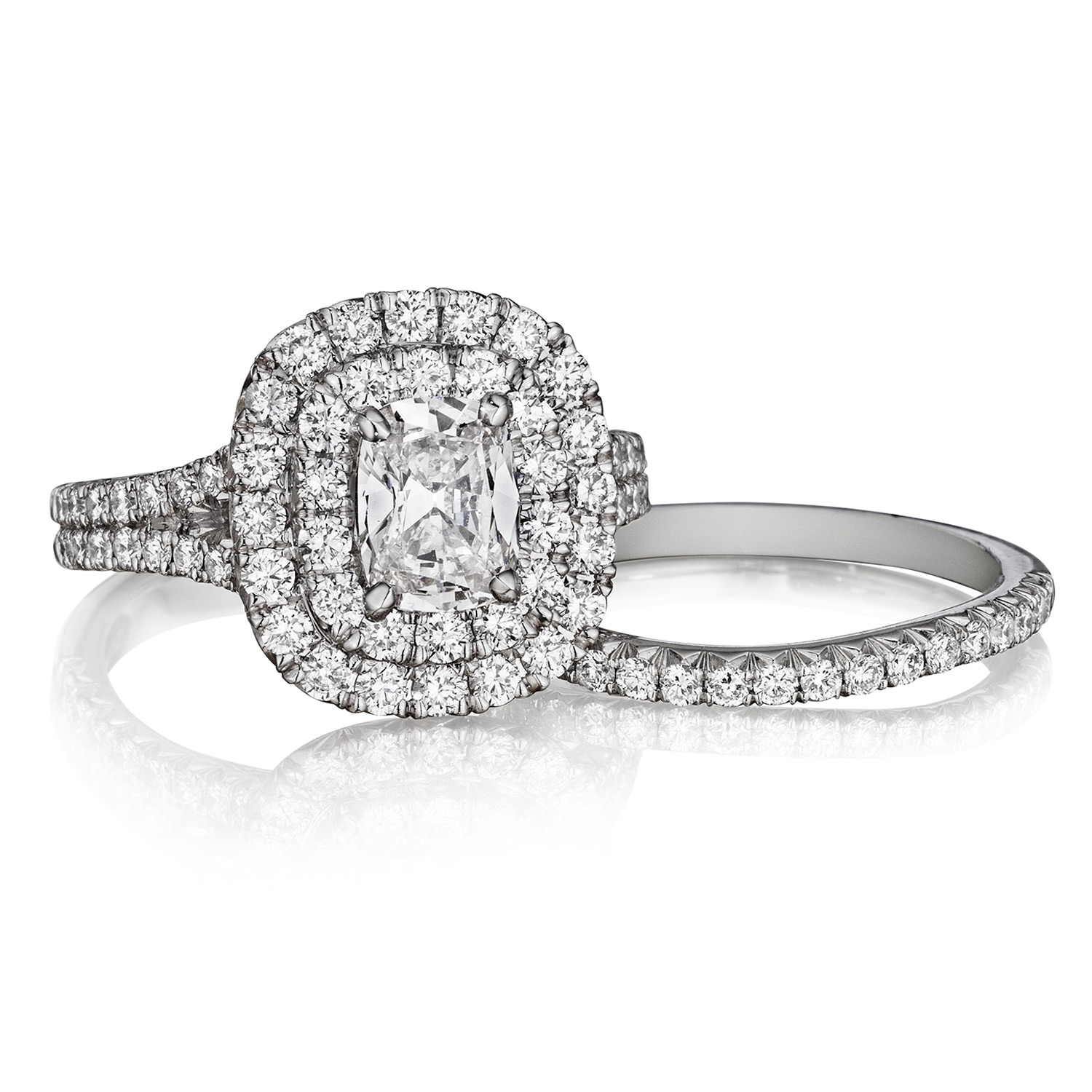 Henri Daussi AQS Cushion Double Halo Spilt Shank Diamond Engagement Ring Alternative View 2