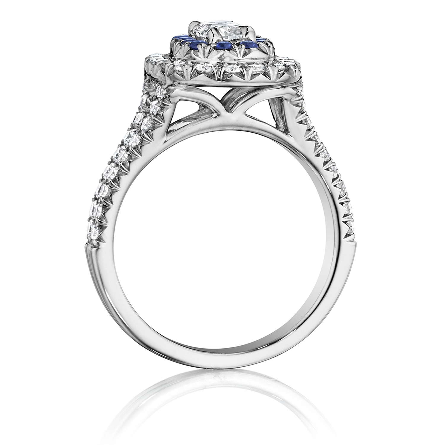 Henri Daussi AQSB Cushion Double Halo Diamond & Sapphire Engagement Ring Alternative View 1