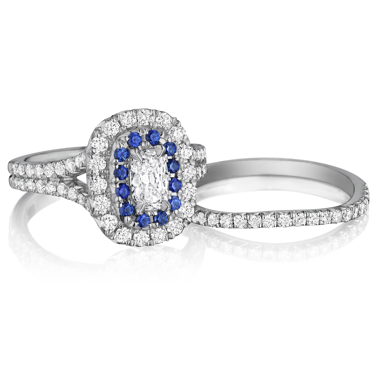 Henri Daussi AQSB Cushion Double Halo Diamond & Sapphire Engagement Ring Alternative View 2