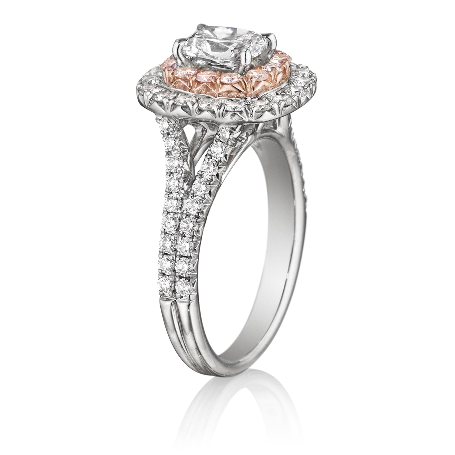 Henri Daussi AQSP Cushion Double Halo with Pink Diamonds Engagement Ring Alternative View 1