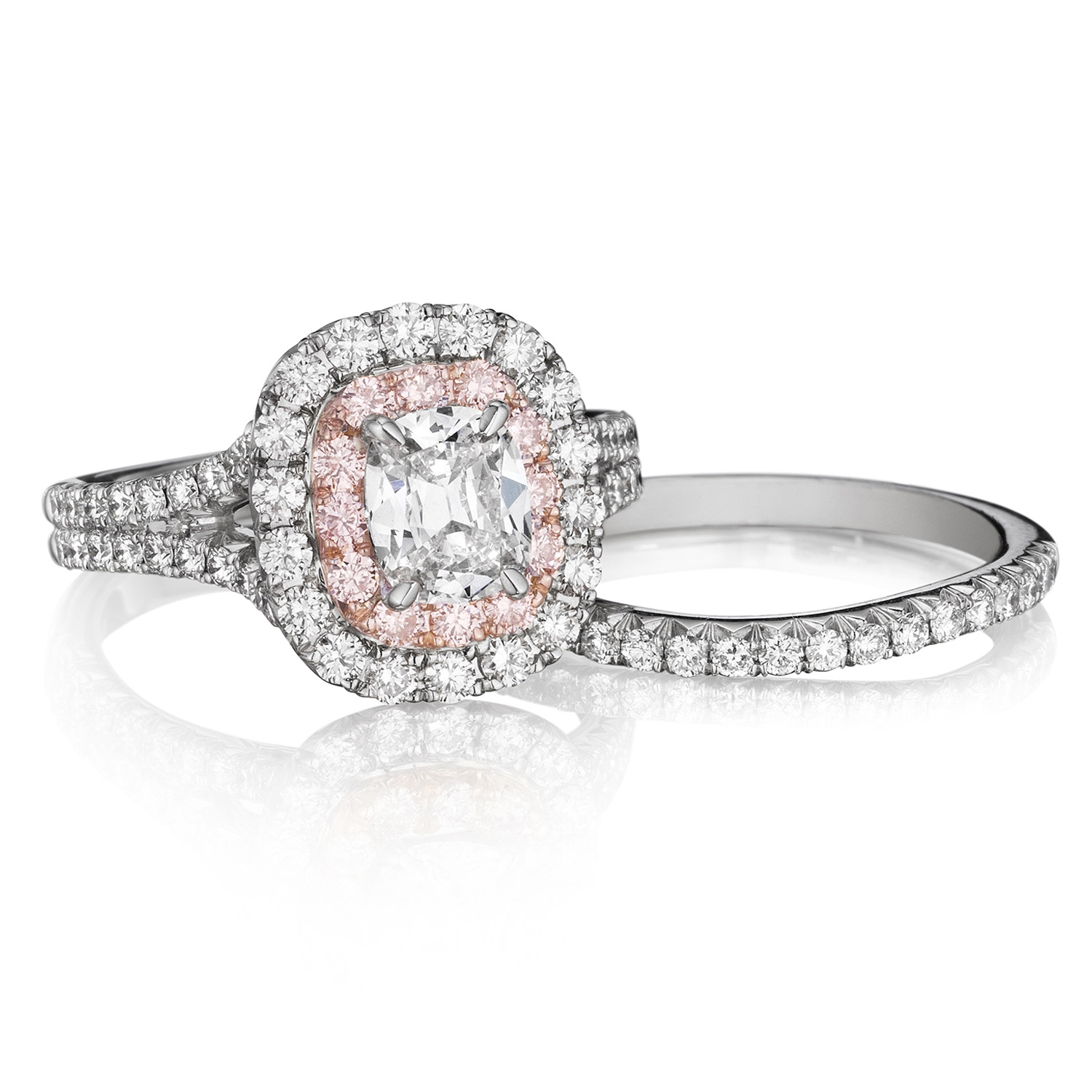 Henri Daussi AQSP Cushion Double Halo with Pink Diamonds Engagement Ring Alternative View 2