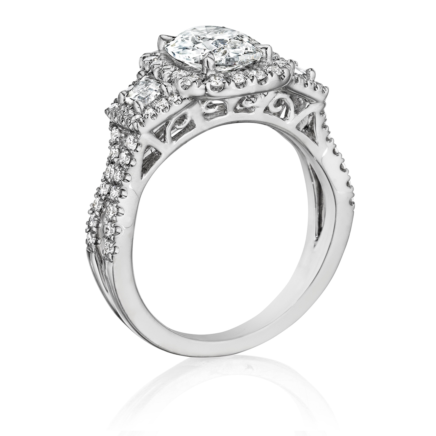Henri Daussi ATRP Cushion Halo with Trapezoid Diamonds Engagement Ring Alternative View 1