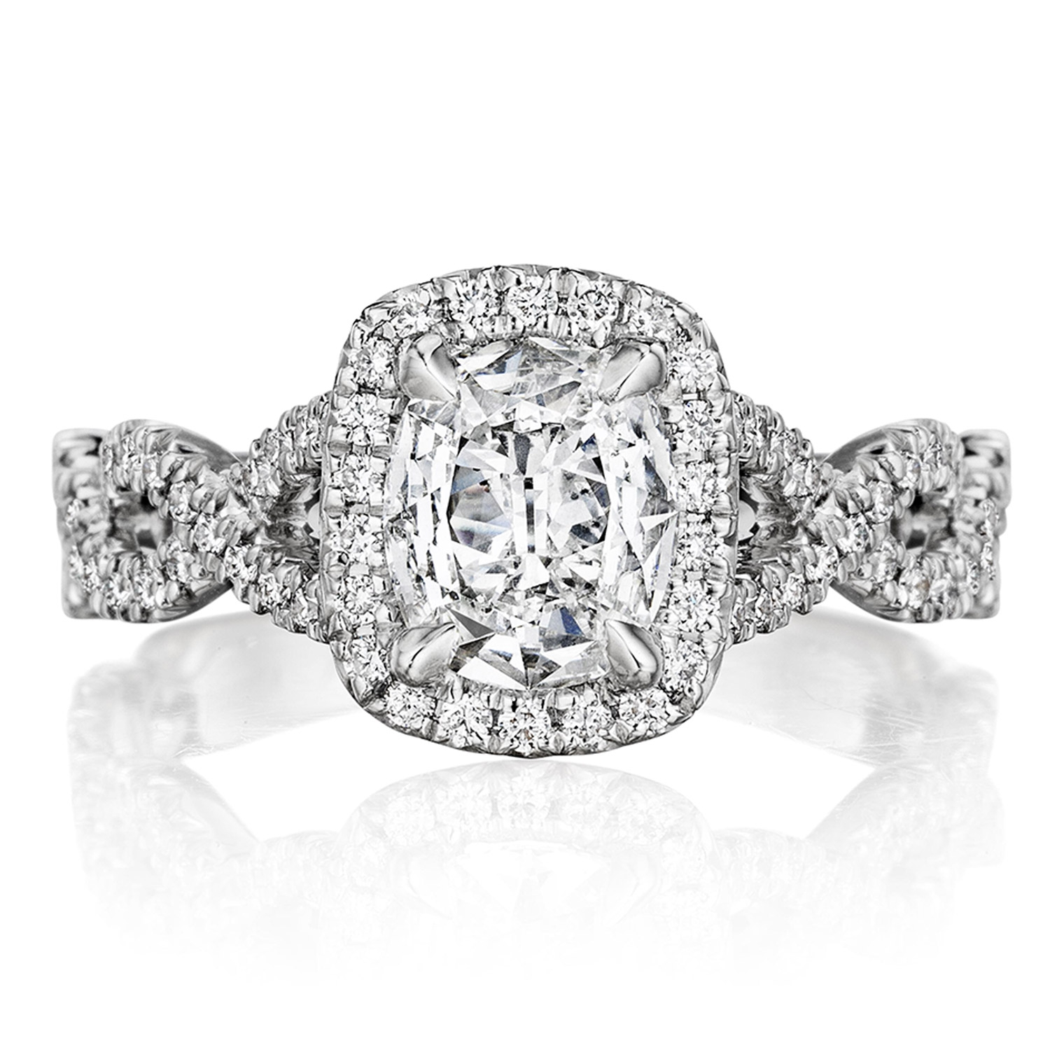 Henri Daussi ATWS Cushion Halo Interlaced Shank Diamond Engagement Ring
