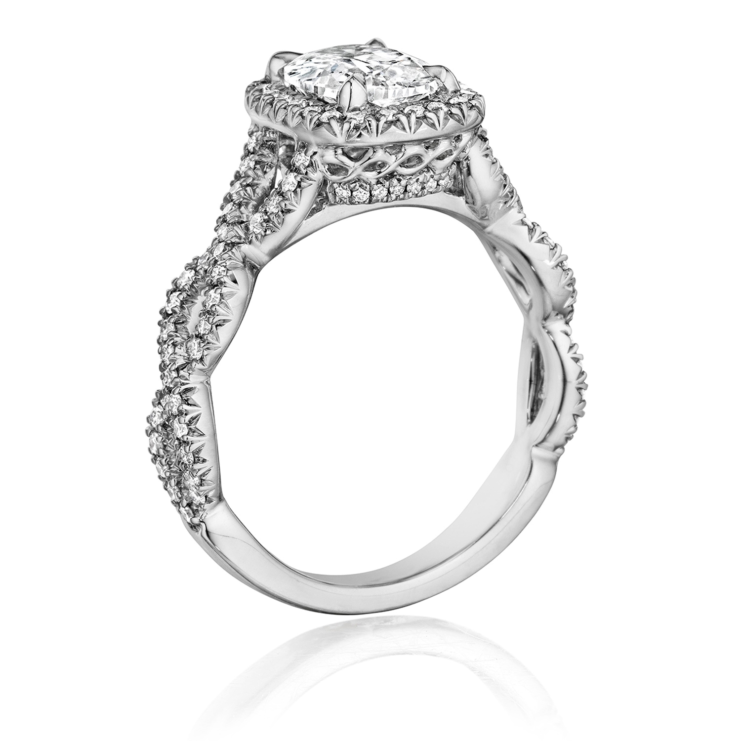 Henri Daussi ATWS Cushion Halo Interlaced Shank Diamond Engagement Ring Alternative View 1