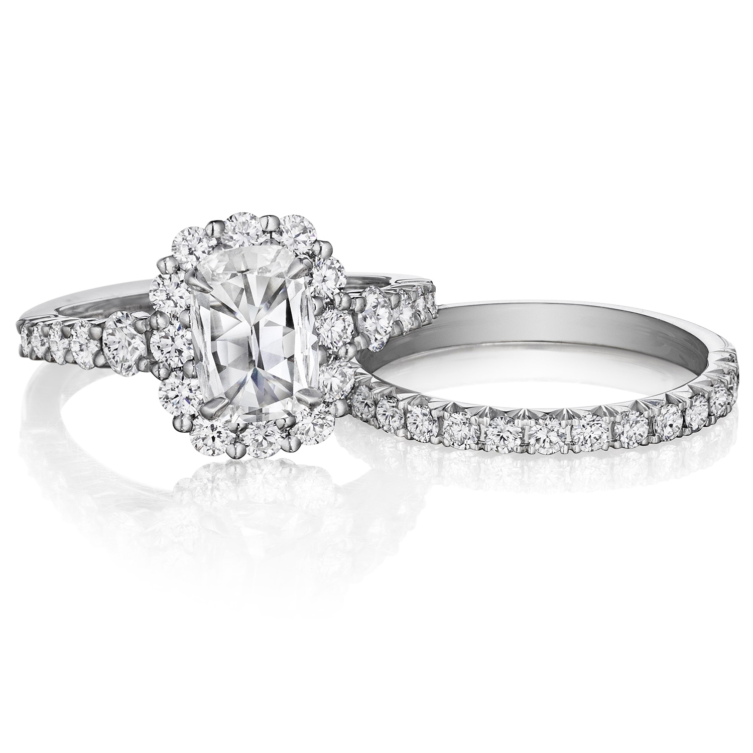 Henri Daussi AVD Cushion Scalloped Halo Diamond Engagement Ring Alternative View 2