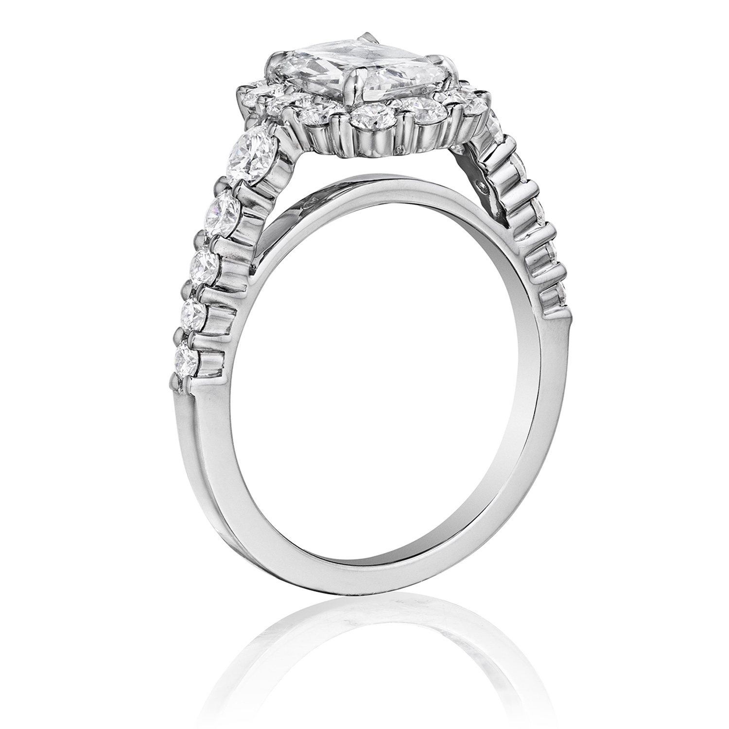 Henri Daussi AVD Cushion Scalloped Halo Diamond Engagement Ring Alternative View 1