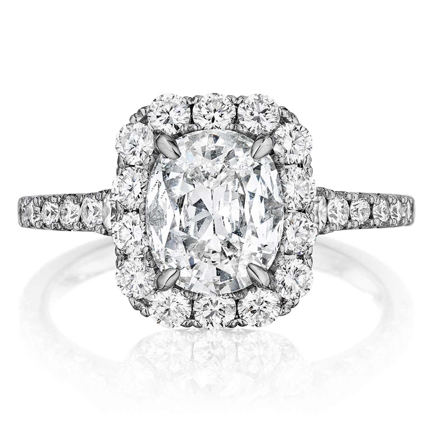Henri Daussi AVS Cushion Halo Graduated Accent Diamonds Engagement Ring