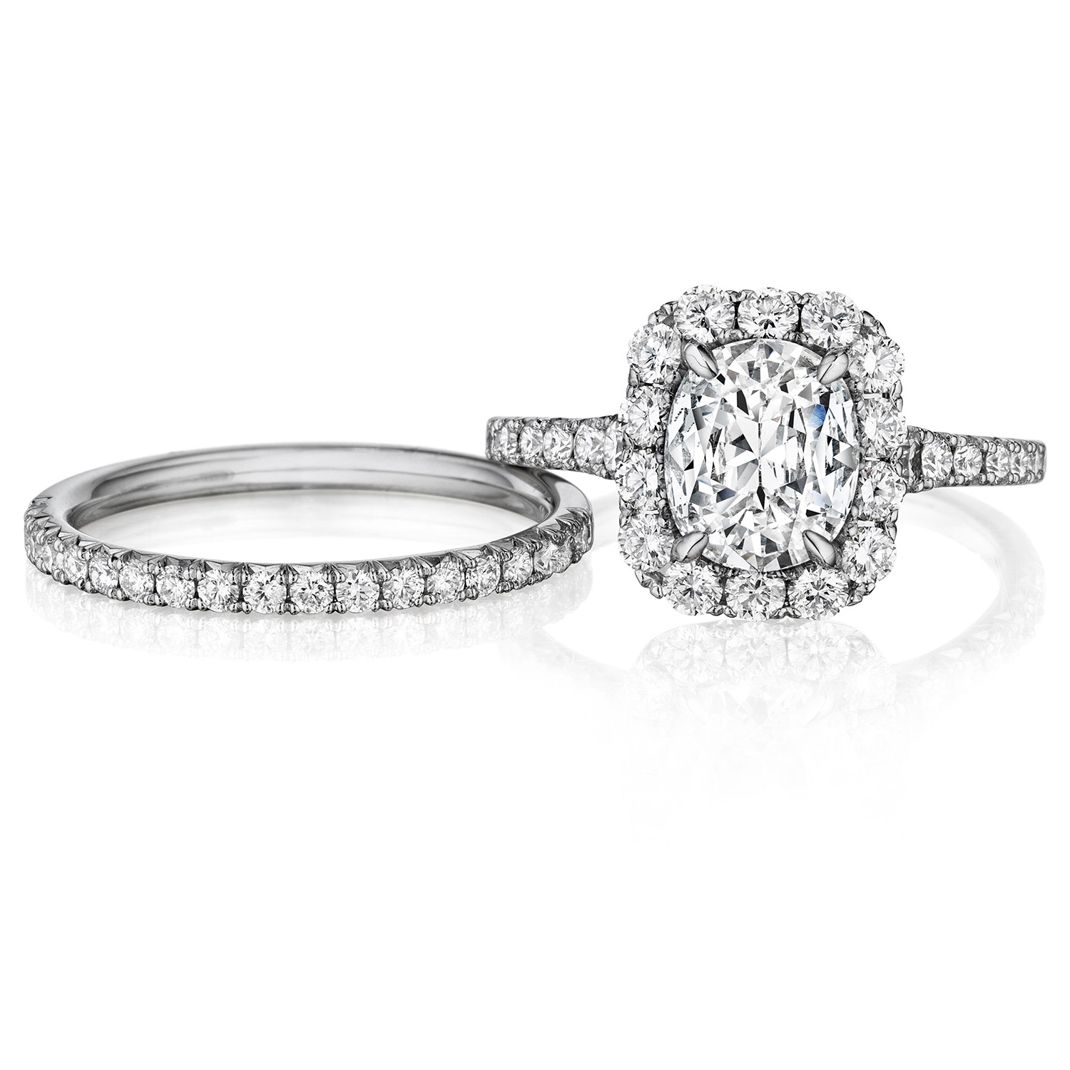 Henri Daussi AVS Cushion Halo Graduated Accent Diamonds Engagement Ring Alternative View 2
