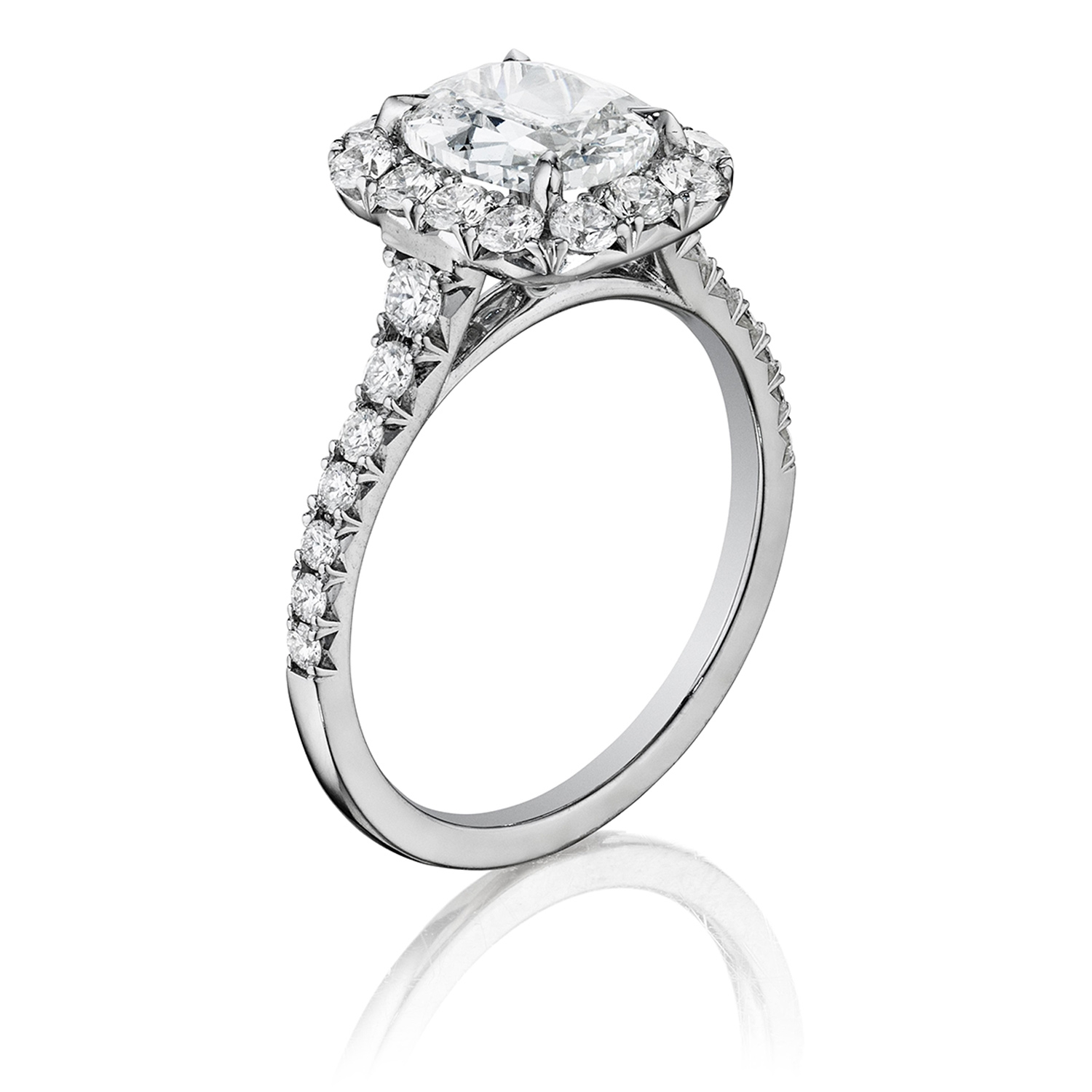 Henri Daussi AVS Cushion Halo Graduated Accent Diamonds Engagement Ring Alternative View 1