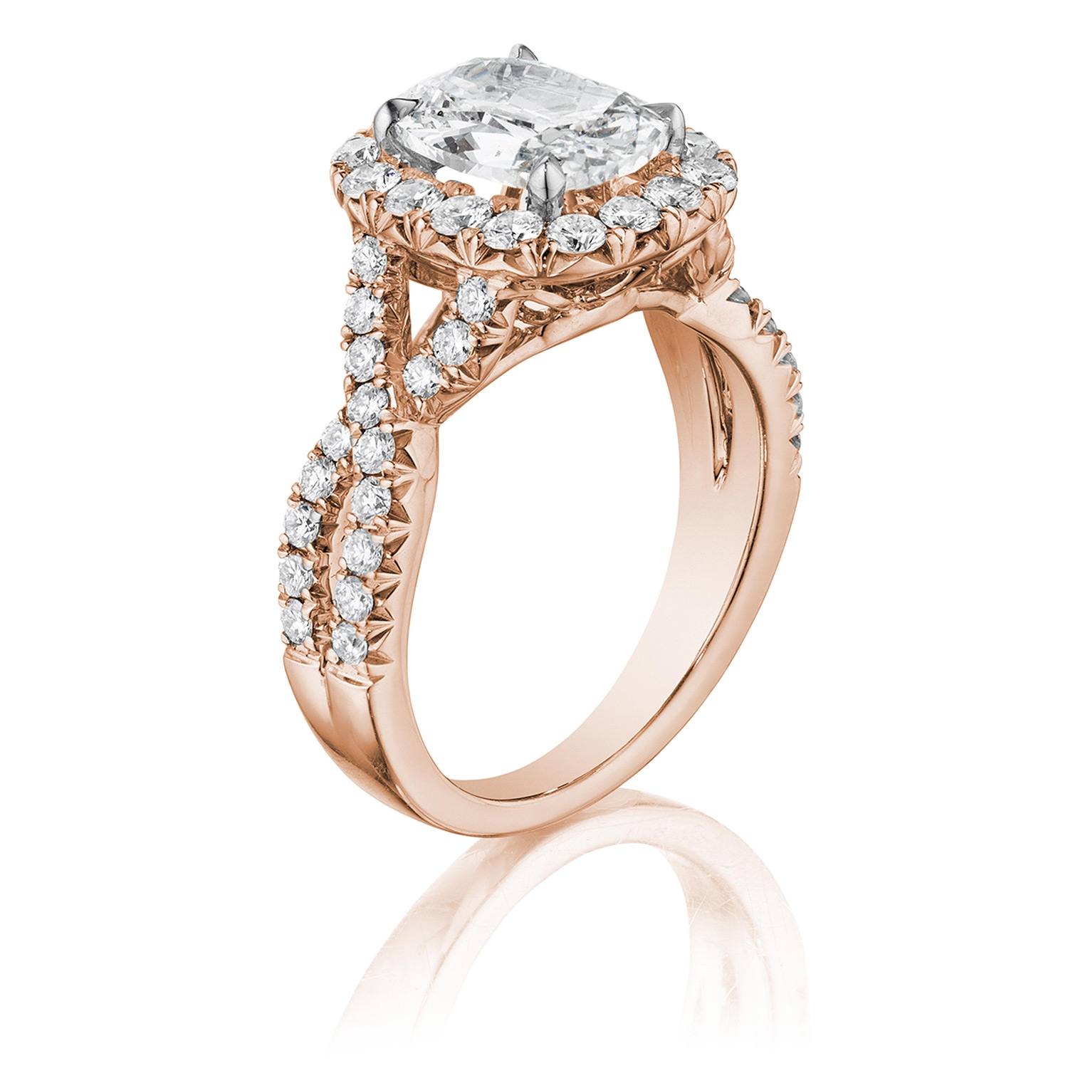 Henri Daussi AW Cushion Halo Interlaced Shank Diamond Engagement Ring Alternative View 2