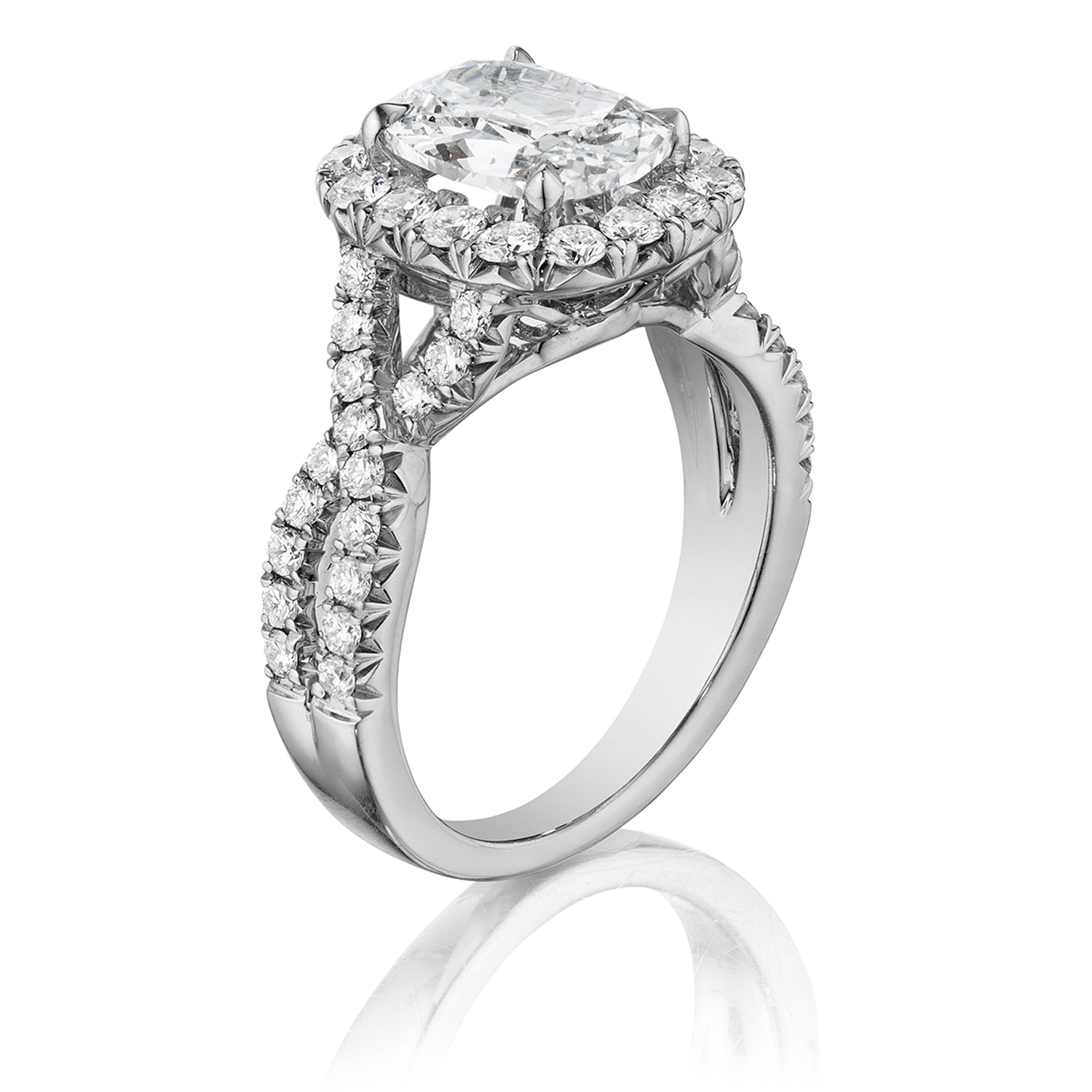 Henri Daussi AW Cushion Halo Interlaced Shank Diamond Engagement Ring Alternative View 1