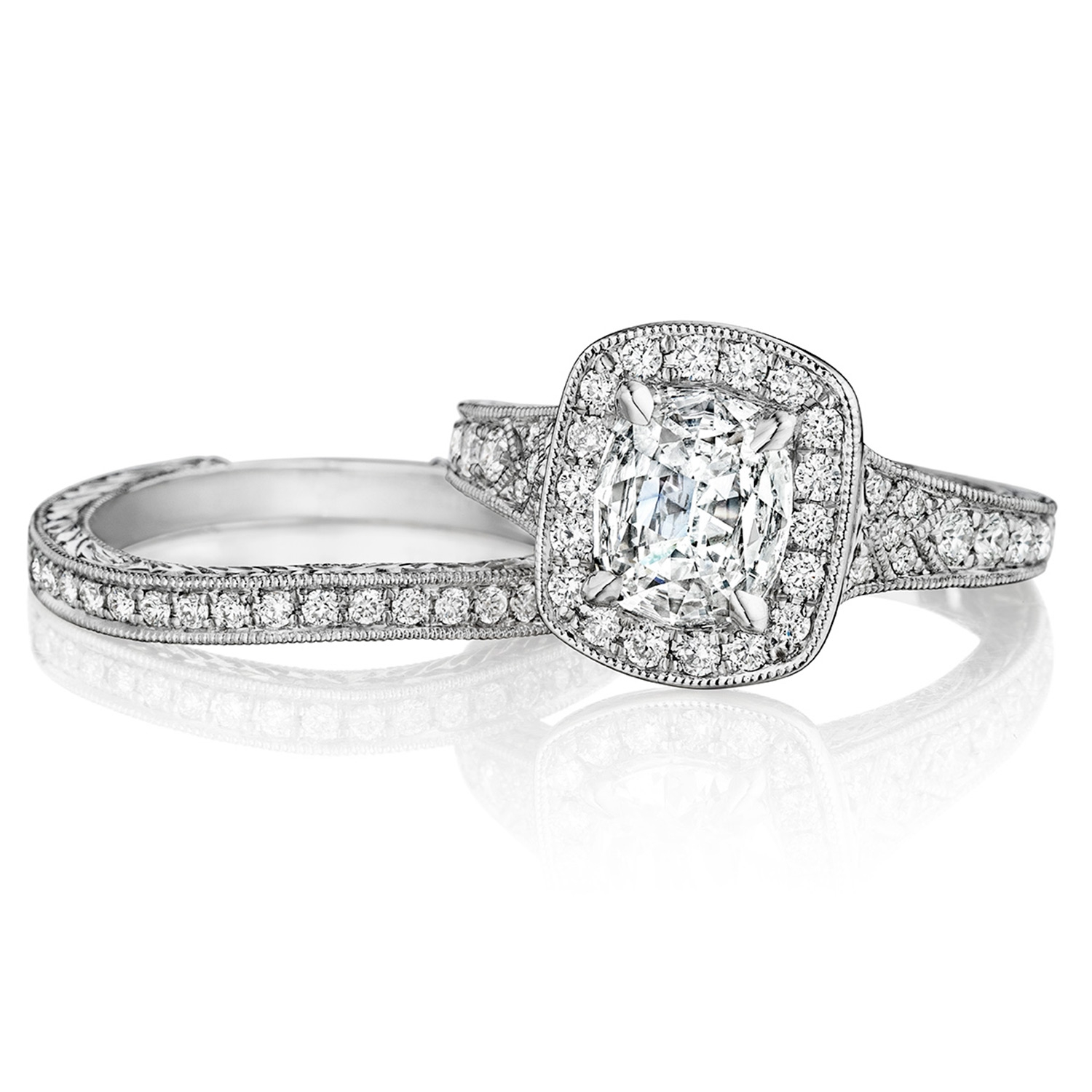 Henri Daussi AZP Cushion Halo Graduated Accent Diamonds Engagement Ring Alternative View 2
