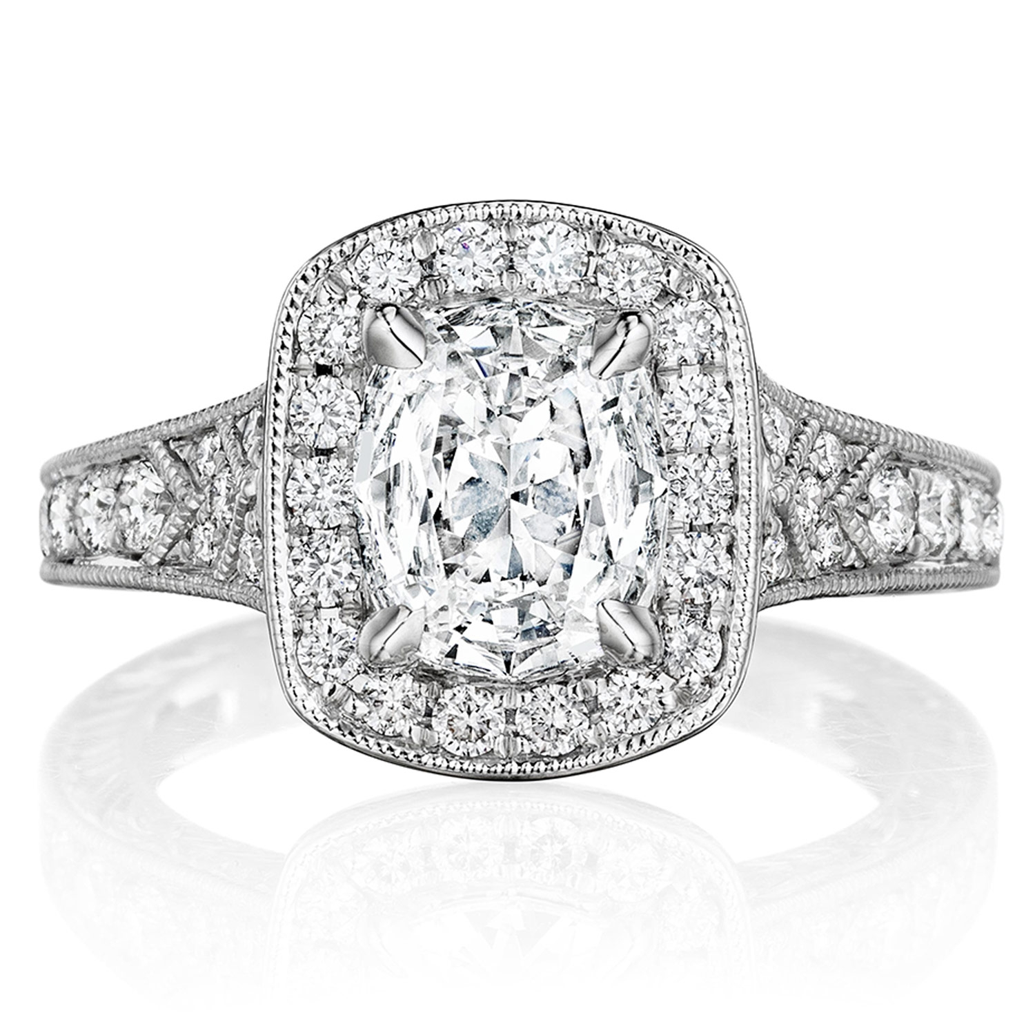 Henri Daussi AZP Cushion Halo Graduated Accent Diamonds Engagement Ring