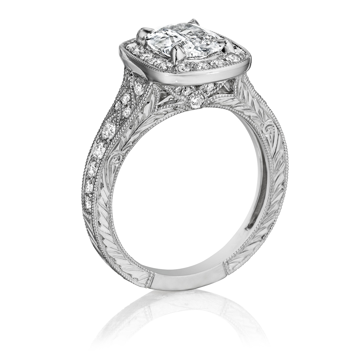 Henri Daussi AZP Cushion Halo Graduated Accent Diamonds Engagement Ring Alternative View 1