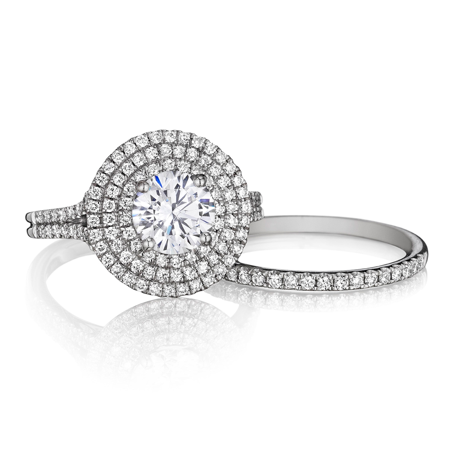 product engagement peter rings diamond cut ring norman shank with band split a cushion pave platinum micro