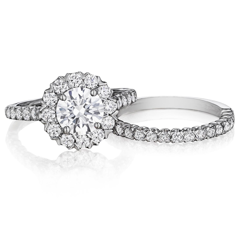Henri Daussi BJS Unique VProng Halo Diamond Engagement Ring TQ
