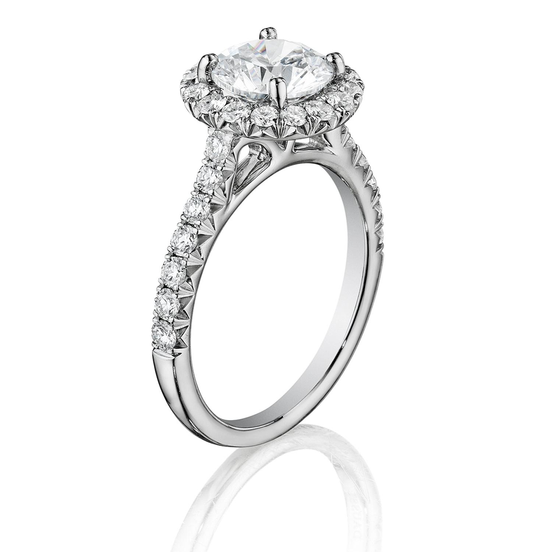 Henri Daussi Bmdm Round Halo Diamond Engagement Ring