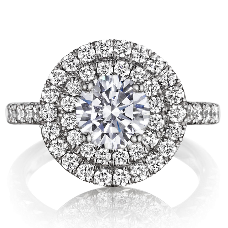 Henri Daussi Bq Round Double Halo Diamond Engagement Ring