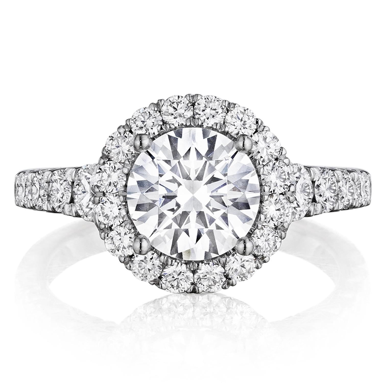 Henri Daussi Bv Round Halo Graduated Accent Diamonds Engagement Ring