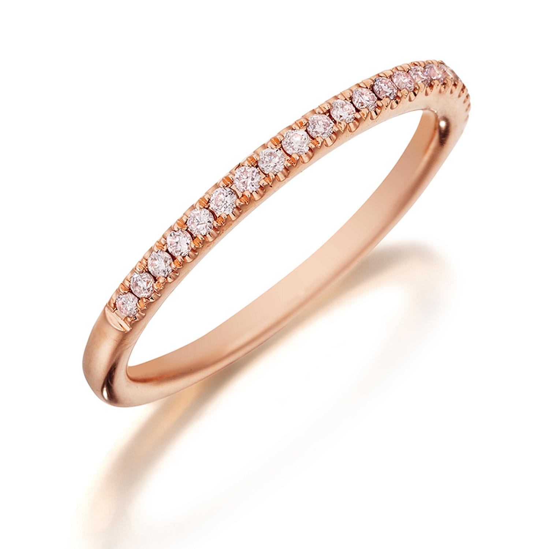 df5bfe889aecd Henri Daussi R1-2 Diamond Band Single Line of Fancy Light Pink Diamonds