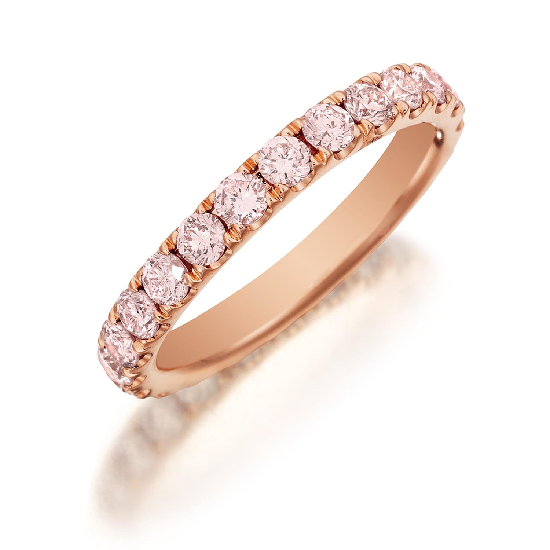 henri daussi r2 2 diamond band single line of light fancy pink