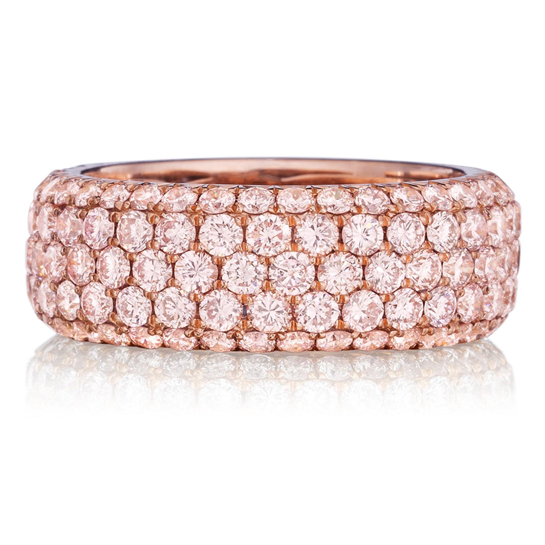 Henri Daussi R22-2 Five Row Pave Set Fancy Light Pink Diamond Band ...